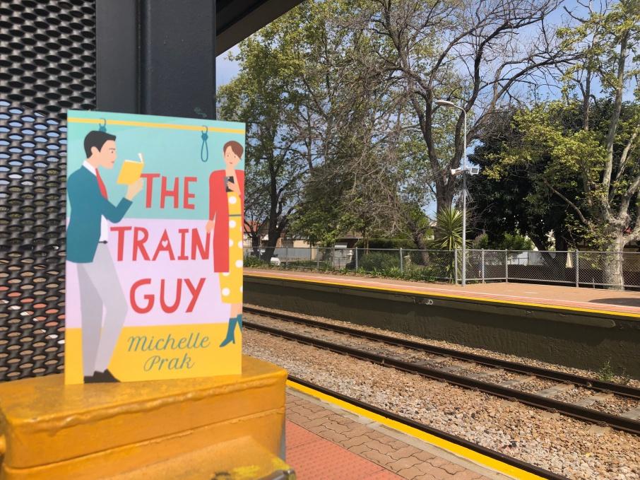 The Train Guy novel at train station
